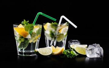 лимон, лайм, цитрус, напитки, стаканы, трубочки, кубики льда, лимонад