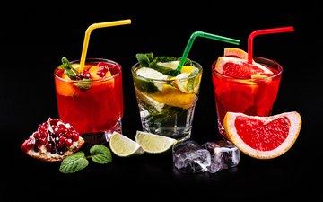 мята, лёд, лимон, черный фон, лайм, коктейль, гранат, грейпфрут