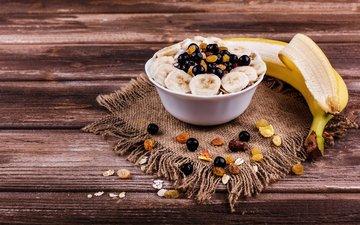 орехи, еда, фрукты, ягоды, завтрак, банан, изюм, овсянка, гранола