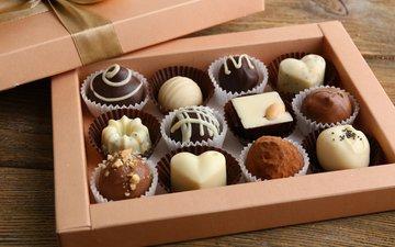 конфеты, шоколад, коробка, десерт, шоколадные конфеты