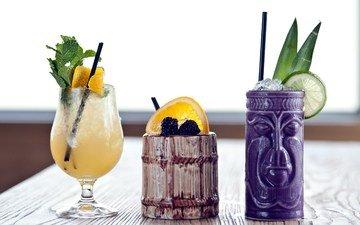 лайм, коктейль, коктейли, бокалы, ежевика