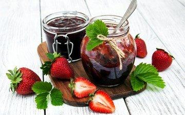 клубника, ягоды, варенье, клубничное, баночки, olena rudo