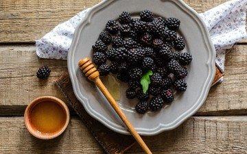 ягоды, мед, тарелка, ежевика
