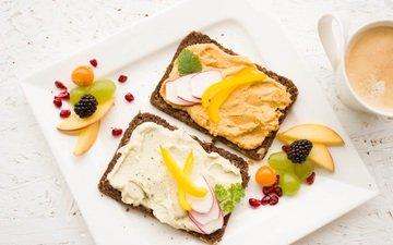 фрукты, бутерброд, хлеб, ягоды, завтрак, паштет, крем