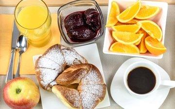 еда, апельсины, кофе, джем, яблоко, завтрак, сок, булочка