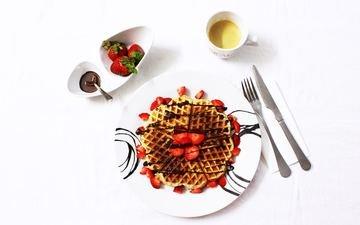 клубника, кофе, завтрак, шоколад, тарелка, вафли