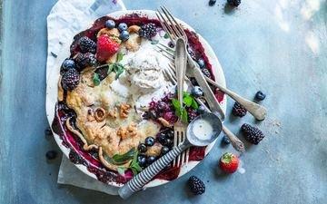 мороженое, клубника, ягоды, черника, десерт, пирог, ежевика, начинка