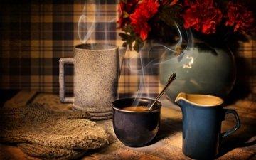 цветы, кофе, кружка, чашка, пар