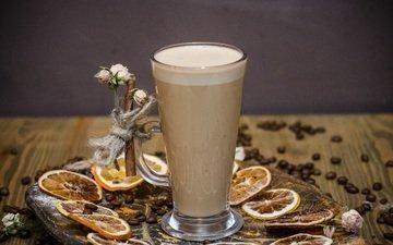 напиток, кофе, цитрус, кофейные зерна