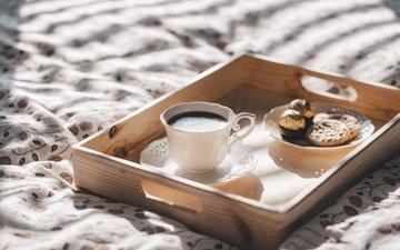 утро, кофе, кружка, завтрак, шоколад, печенье
