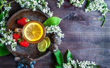 напиток, клубника, лимон, кружка, ягоды, лайм, черника, чай, дерева, поднос