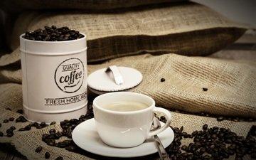кофе, чашка, банка