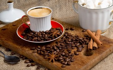 корица, кофе, сахар, натюрморт, пряности, анис, бадьян, разделочная доска, кофе в зернах, арабика