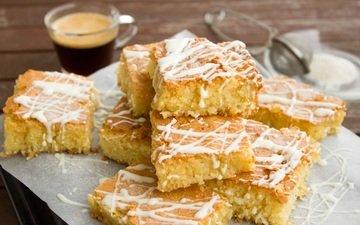 кофе, сладкое, бисквит, пирог, дерева, крем