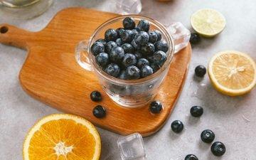 фрукты, лёд, ломтики, ягоды, апельсин, чашка, лайм, черника, цитрусы