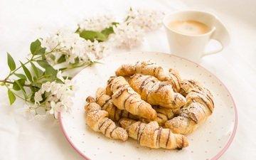 кофе, завтрак, шоколад, десерт, круассаны, нутелла