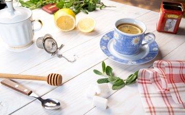 мята, стол, лимон, чай, салфетка, дерева, кубок