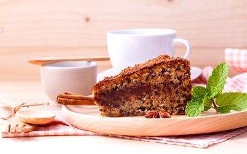 корица, кофе, выпечка, пирог, анис