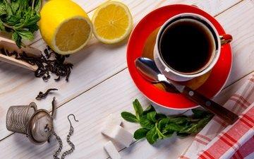 мята, напиток, лимон, кружка, блюдце, чашка, чай, завтрак, полотенце, дерева