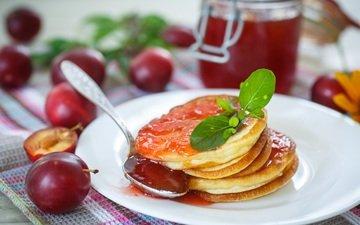 мята, джем, завтрак, тарелка, оладьи, слива