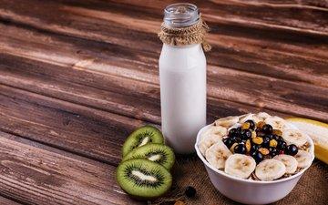 фрукты, киви, завтрак, бутылка, молоко, дерева, гайки, овсянка, гранола, молока