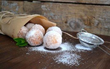 сладкое, пончики, десерт, сахарная пудра