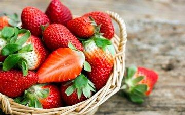 клубника, ягоды, корзинка