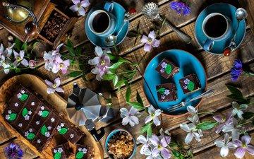 цветы, ветки, кофе, кофейные зерна, чашки, десерт, пирожное, сервировка, шоколадные пирожные