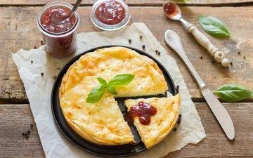 джем, выпечка, десерт, пирог, деревянная поверхность