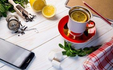 мята, лимон, чашка, телефон, чай, завтрак, карандаш, блокнот, ситечко