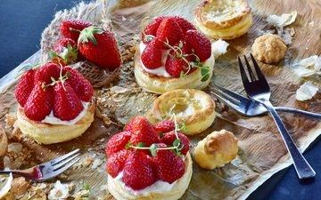 клубника, ягоды, десерт, пирожное, крем