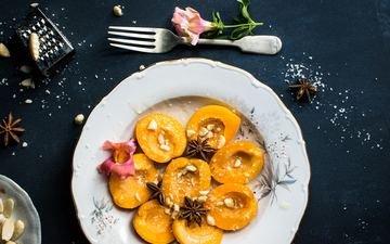 орехи, персики, десерт
