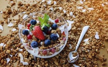 ягоды, завтрак, мюсли, йогурт, овсянка, гранола