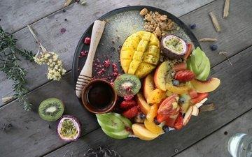 еда, фрукты, яблоки, ягоды, киви, ассорти, манго