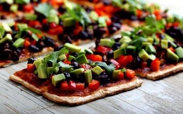 овощи, дерева, пицца, начинка, маслины