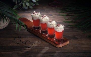 напиток, очки, коктейль, сливки