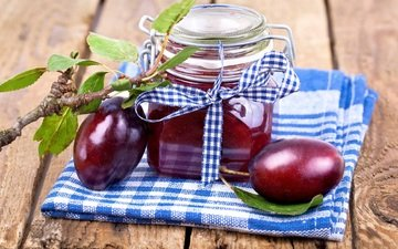 фрукты, джем, плоды, салфетка, сливы, баночка, варенье, слива, повидло