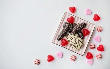 конфеты, шоколад, сердечки, сладкое, печенье