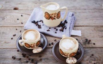 еда, кофе, посуда, кофейные зерна, печенье, пенка