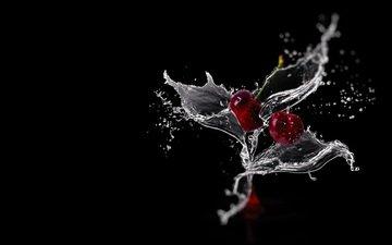 вода, фон, капли, клубника, брызги, бокал, всплеск