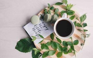 кофе, завтрак, макаруны, миндальное печенье