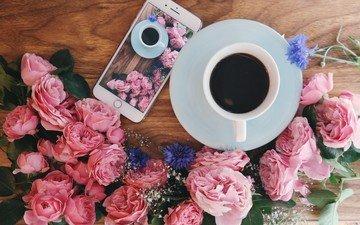 цветы, розы, кофе, завтрак