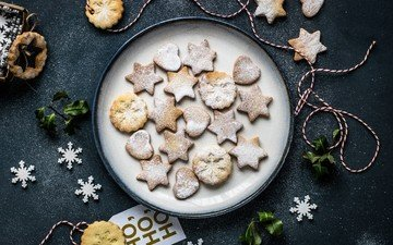 новый год, снежинки, сладкое, печенье, выпечка, сахарная пудра, декор