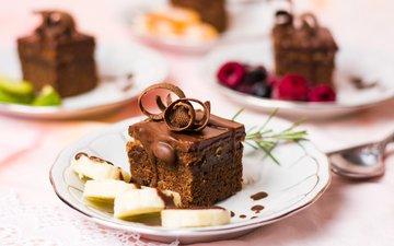 фрукты, ягоды, шоколад, десерт, пирожное, шоколадное, крем