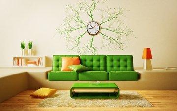 интерьер, дизайн, подушки, часы, ковер, диван, столик, модерн