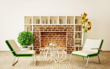 цветы, дизайн, камин, кресла, столик, гостиная, модерн