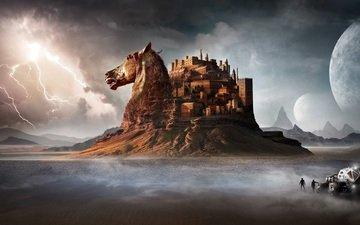 лошадь, горы, пустыня, замок