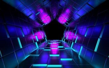 рендеринг, кубы, тоннель, пурпурный, 3д