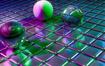 шары, отражение, формы, блеск, кубы, 3д