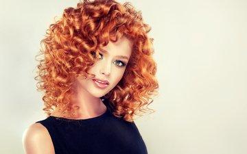 девушка, портрет, взгляд, модель, кудри, волосы, лицо, макияж, рыжеволосая, софия журавец